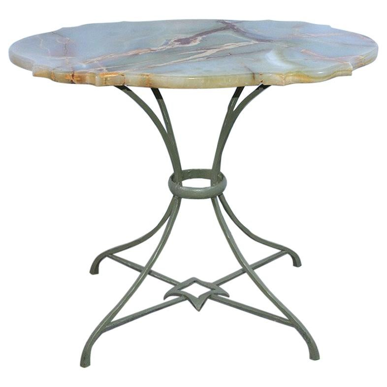 Onyx and Metal Base Side Table
