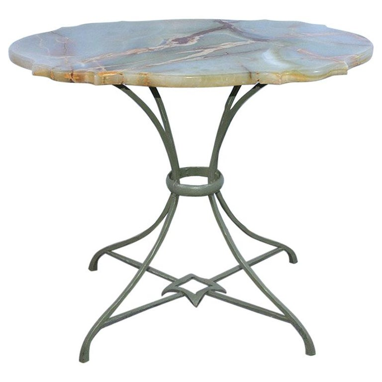 Onyx and Metal Base Side Table For Sale