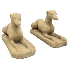 Pair of Cast Stone Dog Sculptures