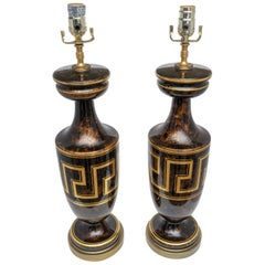 Pair of Table Lamps with Greek Key