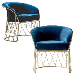 Set of 2 Equipal Brass and Blue Velvet Art Piece Arm Chairs by ATRA