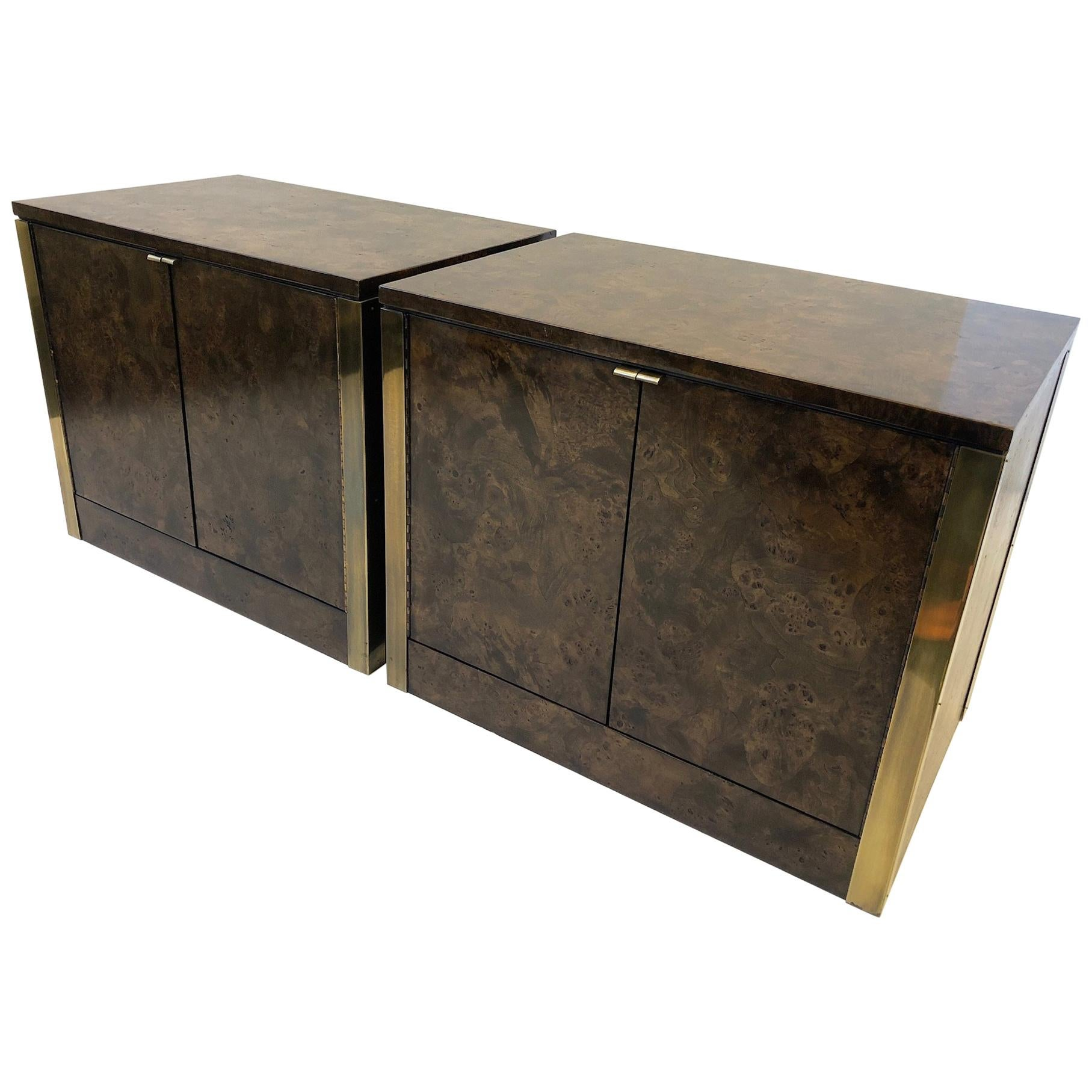 Pair of Burlwood and Brass Nightstands by Mastercraft