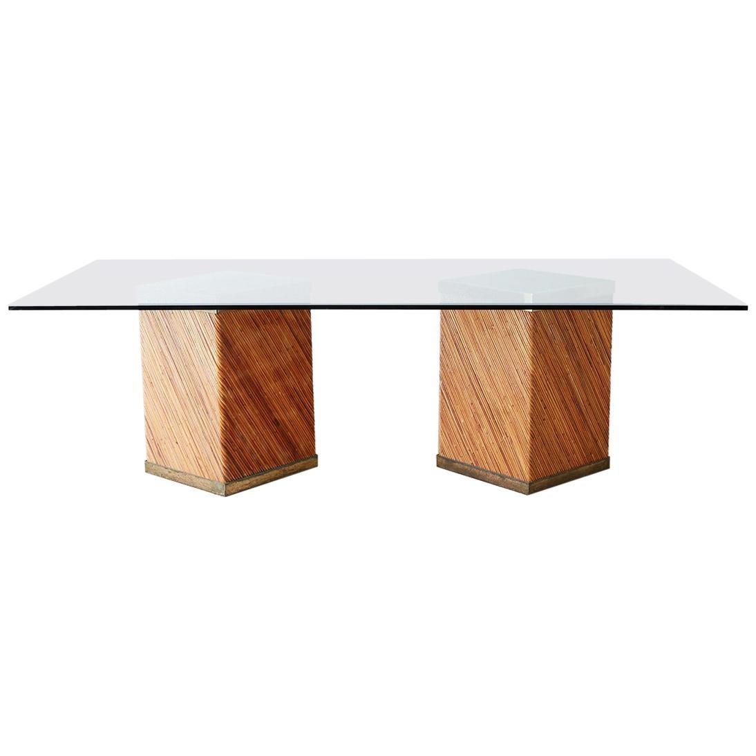 Rattan Brass Pedestal Dining Table