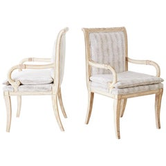 Pair of Neoclassical Regency Style Armchairs or Library Chairs