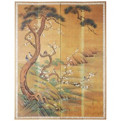 Japanese Edo Style Four-Panel Spring Landscape Screen