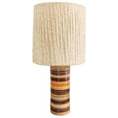 Large Sahara Glaze Bitossi Lamp with Impressed Ramini Decor and Wool Drum Shade