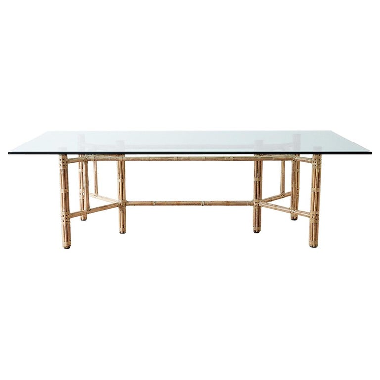 mcguire organic modern blonde bamboo rattan dining table for sale at 1stdibs