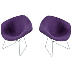 Restored Diamond Chair by Harry Bertoia for Knoll - Full Cover Plum Knoll Tweed