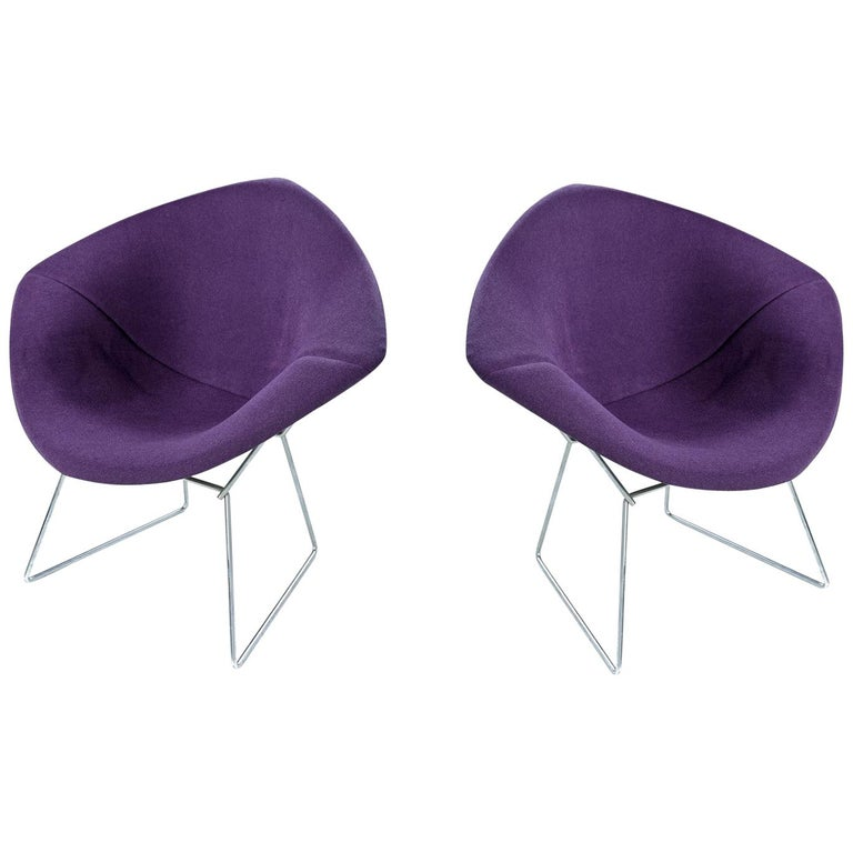 Restored Diamond Chair by Harry Bertoia for Knoll - Full Cover Plum Knoll Tweed For Sale