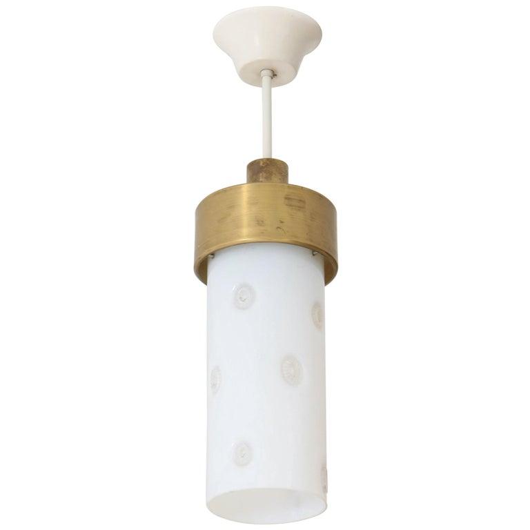 Bronze Italian Mid-Century Modern Pendant Light with Murano Glass Shade, 1960s For Sale