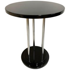 Round French Art Deco Side Table in Black Piano Lacquer and Chromed Metal Sticks