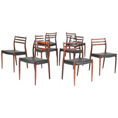 Set of Eight Rosewood Model 78 Chairs by Niels O. Møller for J.L. Møllers, 1954