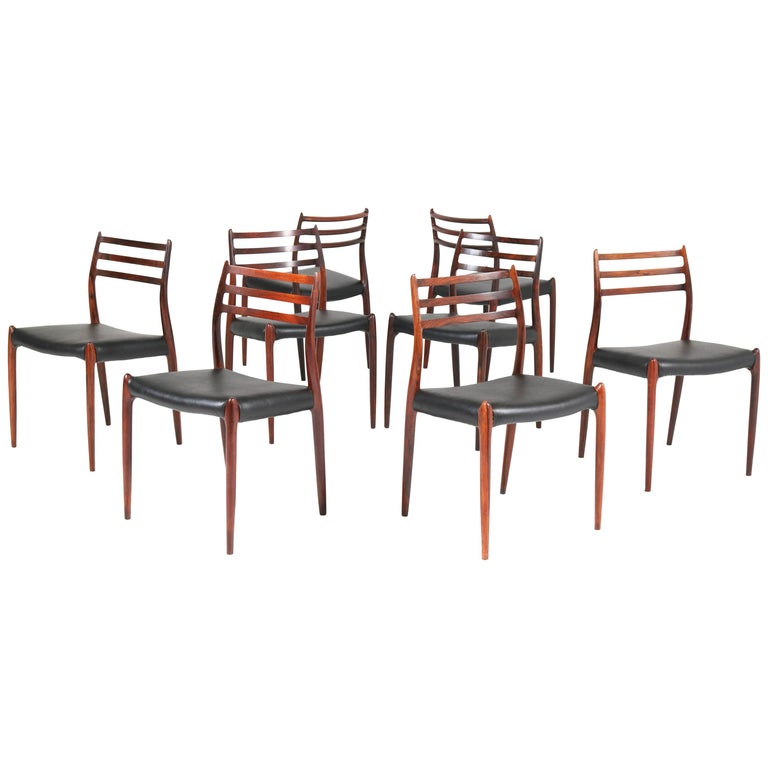 Set of Eight Rosewood Model 78 Chairs by Niels O. Møller for J.L. Møllers, 1954 For Sale