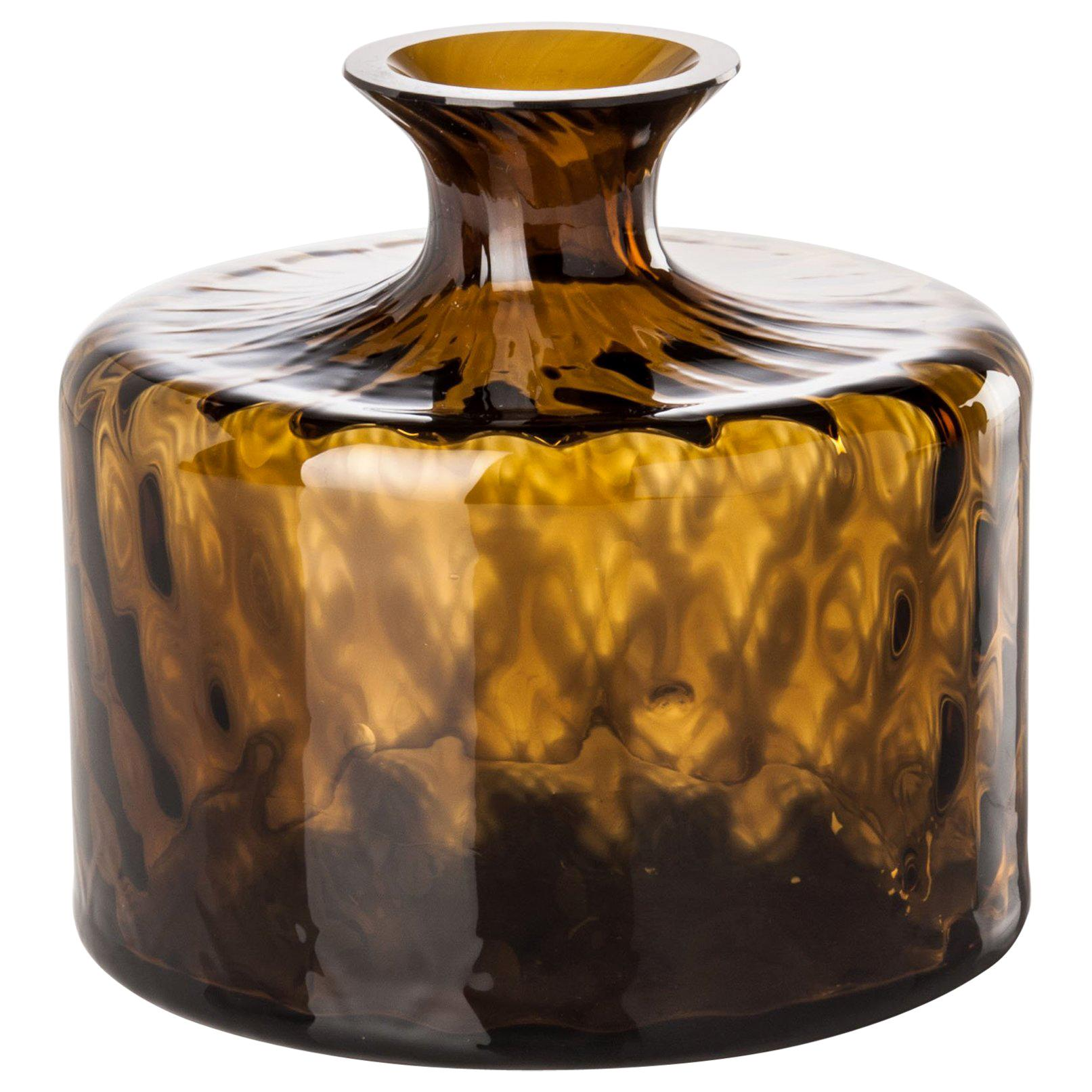 Venini Monofiore Carnevale Short Glass Vase in Tea