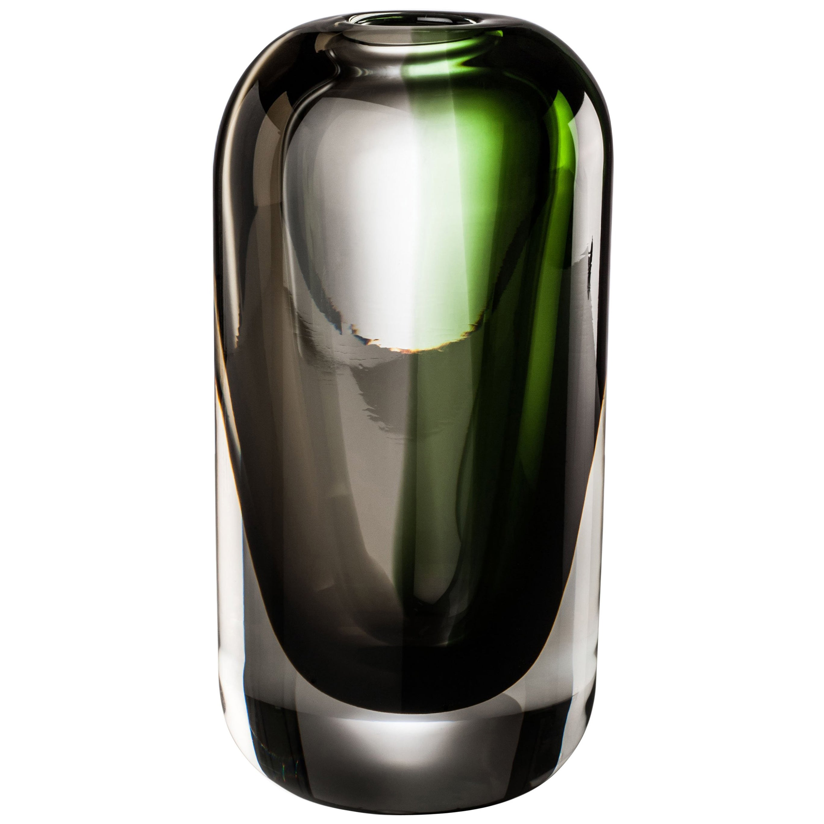 Venini Milano Cylinder Glass Vase in Green and Gray