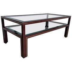 French 1970s Aluminium and Glass 2-Tier Coffee Table by Pierre Vandel, Paris