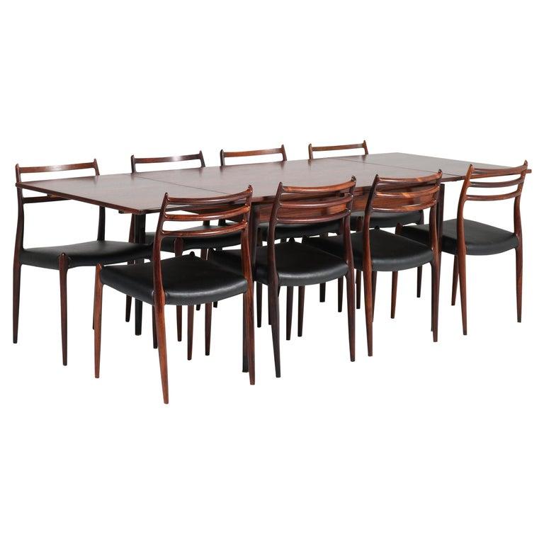 Rosewood Mid-Century Modern Dining Room Set by Niels O. Møller for J.L. Møllers For Sale