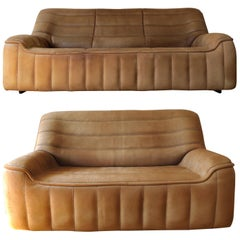 De Sede DS-84 Vintage Thick Buffalo Neck Leather 2 + 3-Seat Sofa Set, 1970s