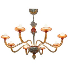 Classico, Large Murano Chandelier, Red and Amber, Eight Arms, 1990s