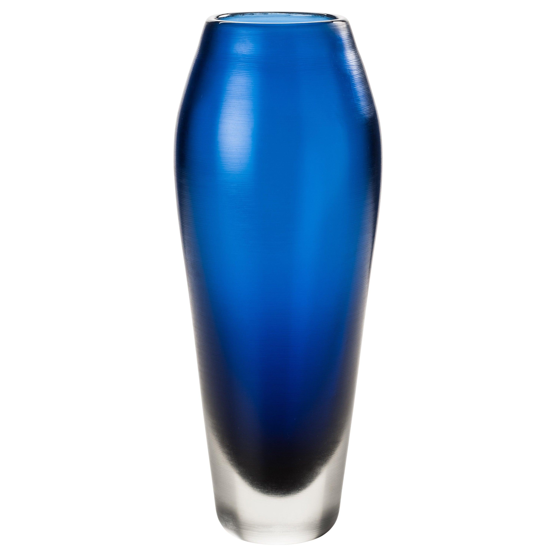 Venini Incisi Glass Vase in Marine Blue by Paolo Venini