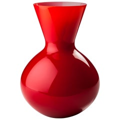 Venini Idria Large Glass Vase in Red
