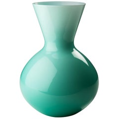 Venini Idria Large Glass Vase in Mint Green
