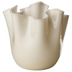 Venini Fazzoletto Large Vase in Milk White by Fulvio Bianconi & Paolo Venini