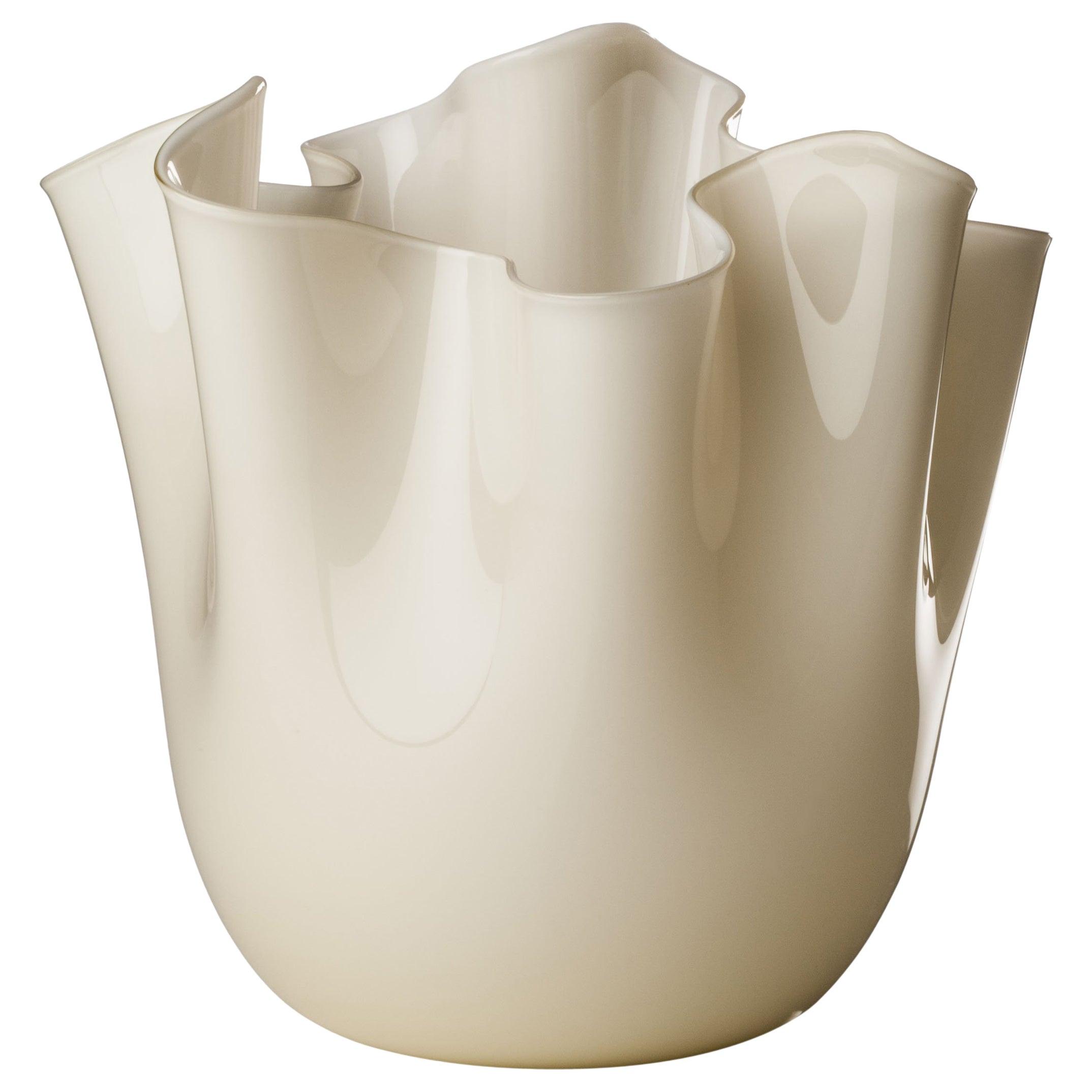 Venini Fazzoletto Large Vase in Milk White by Fulvio Bianconi & Paolo Venini