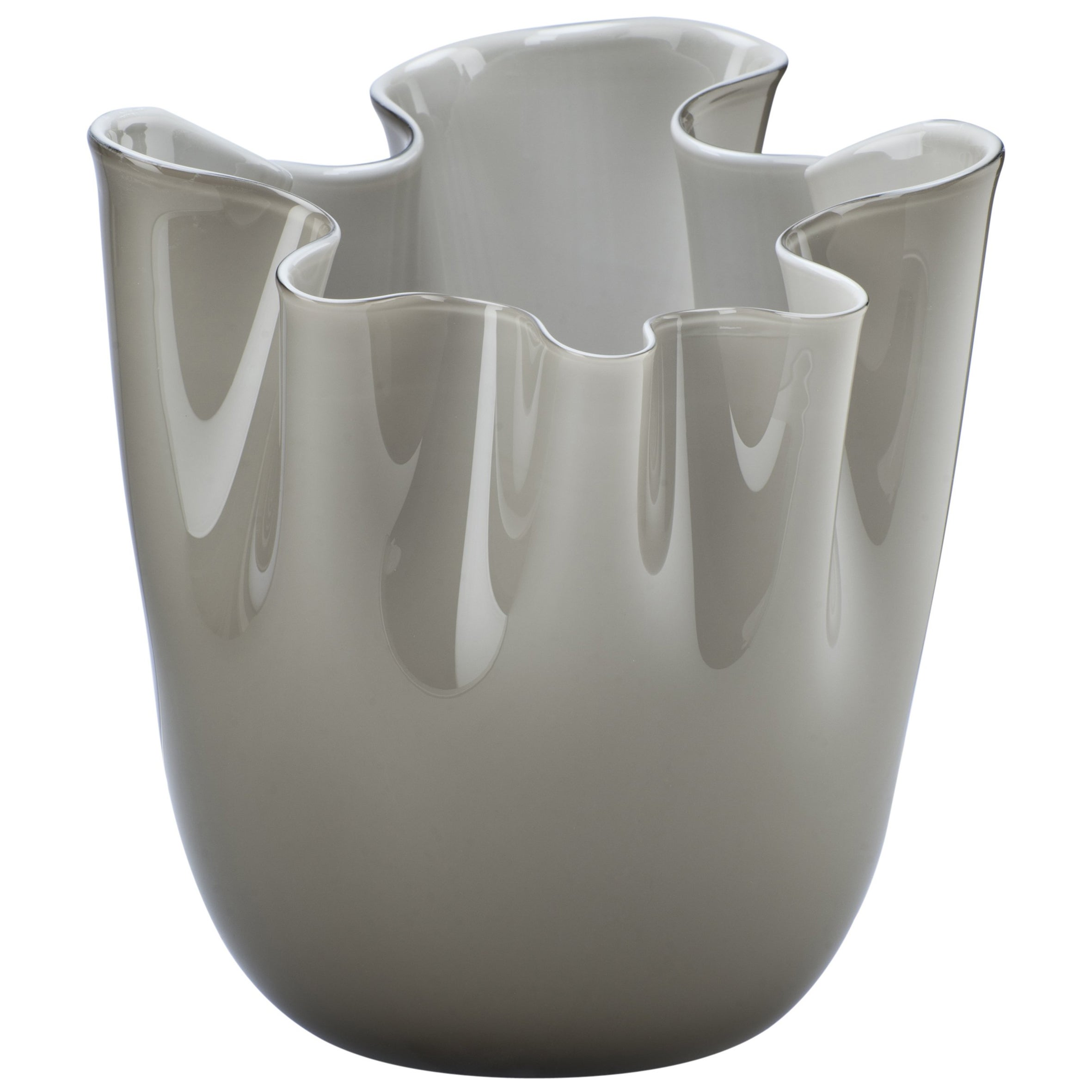 Venini Fazzoletto Large Glass Vase in Gray by Fulvio Bianconi and Paolo Venini