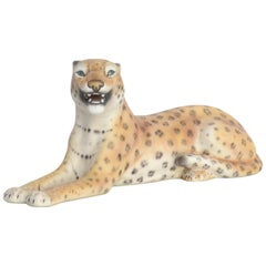Small Porcelain Leopard Sculpture, Italy