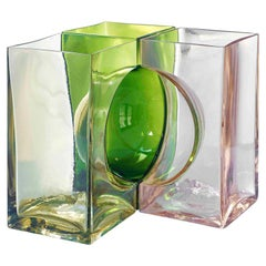 Venini Ando Cosmos Vase in Yellow, Green and Pink by Tadao Ando