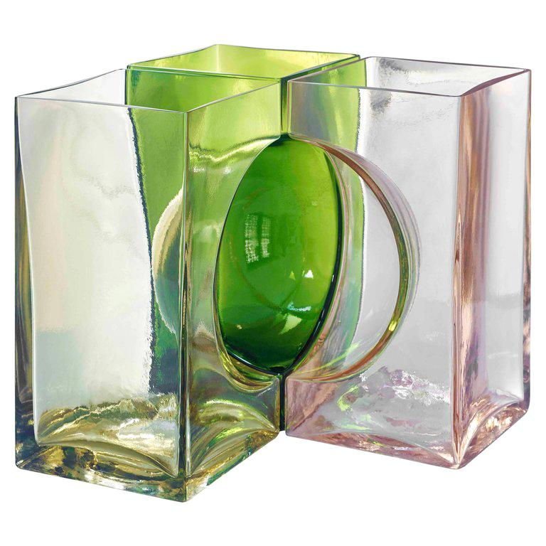 Venini Ando Cosmos Vase in Yellow, Green and Pink by Tadao Ando For Sale