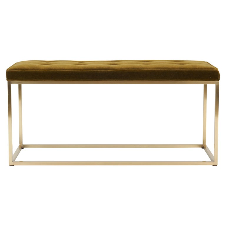 Architectural Brass Frame Bench by Milo Baughman For Sale