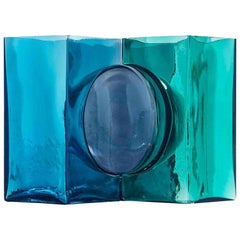 Venini Ando Cosmos Vase in Aquamarine, Grape and Mint by Tadao Ando