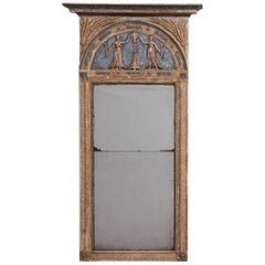 Large Gustavian Mirror in Original Paint and Guilt, Stockholm Master, circa 1790