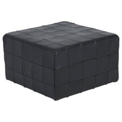 De Sede Black Leather Patchwork Cube Ottoman