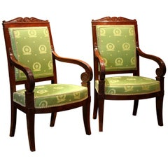Jacob French 18th Century Mahogany and Green Silk Upholster High Back Armchairs