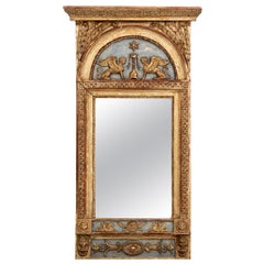 Richly Carved Mirror, Original Paint and Guilt, Properly by Stockholm Master