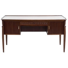 Partners Desk, by Danish Architect, with Roll-Front Doors, Early 20th Century