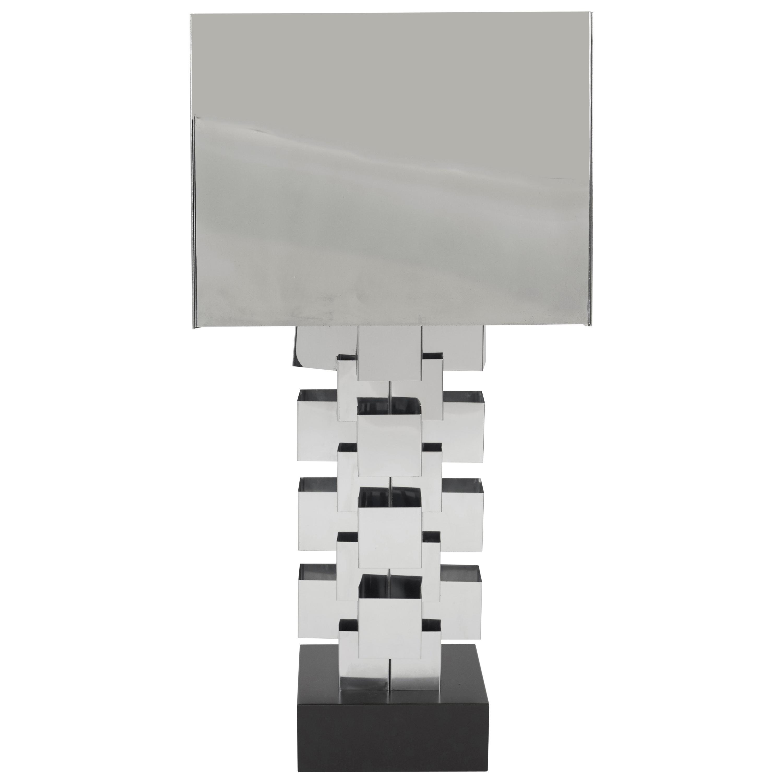 Curtis Jere Chrome Geometric Skyscraper Lamp