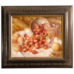A. Schiaffino 20th Century Oil on Cardboard Italian Signed Still Life Painting