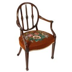 Hepplewhite Design Mahogany Elbow Chair