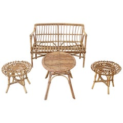 20th Century Italian Bamboo and Rattan Living Room Set of 4 Pieces, 1960s