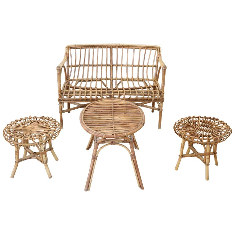 20th century italian bamboo and rattan living room set of - Rattan living room furniture for sale ...