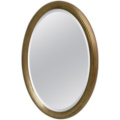 Classic French Oval Mirror in Gold Color, 1960s