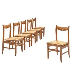 Guillerme & Chambron Set of Six Oak and Cord Chairs