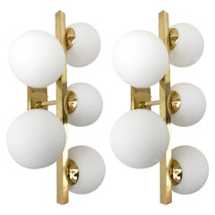 Contemporary Brass Sconces Opaline Glass Ball, Italy