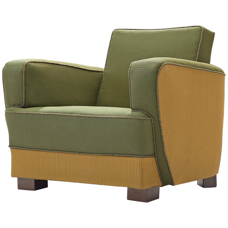 Danish Cabinetmaker Easy Chair in Original Green and Yellow Fabric, 1930s
