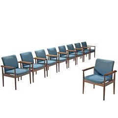 Finn Juhl Set of Diplomat Armchairs in Rosewood and Blue Fabric
