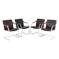 Set of 4 Cantilever Chairs in Leather and Chromed Metal, 1970s